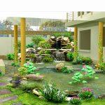 Tiểu cảnh sân vườn trước nhà theo phong cách cổ điển